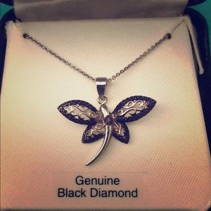Jewelry - Sterling Silver Dragonfly Black Diamond Necklace